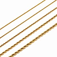 MEMGIFT 18K Real Gold Plated Rope Choker Chain Necklaces for Women Men Boys Teen Girls 2.5MM Width 24 Inches Long Chain Simple Fashion Trendy Christmas Jewelry Gifts for Mom Dad Sister Son Daughter