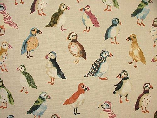 1m Papageientaucher Vögel Treibholz Küste Nautisch Meer Thema Baumwolle Vorhang Polster Stoff