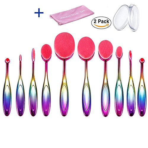 Pinceaux Maquillage 10pcs Brosse à Dents Ovale Pinceaux Maquillage 2pcs Éponge Silicone Professionnels pour les Poudres, Anticernes, Contours, Fonds de Teints, Mélanges et Eyeliner avec sac
