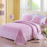 Alicemall Bettwäscheset 3 Teilig aus 100% Baumwolle Umweltfreundlich Weich Sofa Überwurf Bettueberwurf Tagesdecke 200x230cm & 2 Kissenbezüge 50x70cm (Rosa)