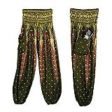 Damen Yoga Leggings, SHOBDW Männer Frauen Thai Harem Hosen Boho Festival Hippie Kittel Hohe Taille Yoga Hosen (One Size, Armeegrün)