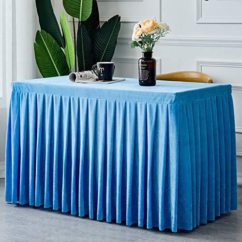 (WENJUN Tischdecken Handgefertigte Elegante Akkordeonfalte Tisch Rock Abdeckung Tischdecke Für Party, Hochzeit, Dekoration, 6 Farben (Farbe : Blau, größe : 274 * 153cm))