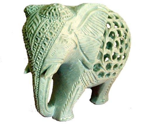 15,2cm indischen handgefertigt Marmor Speckstein Elefant–Baby innen Mother 's tummys (Elefant Speckstein)