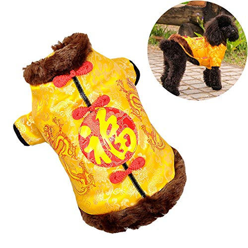 DJLOOKK Hundebekleidung Chinesischer Stil Haustier Kleidung Chinesischer Tang Vierbein-Overall Chinesische Traditionelle Tang Kostüme für Teddy, Mops, Chihuahua, Shih Tzu, Yorkshire ()