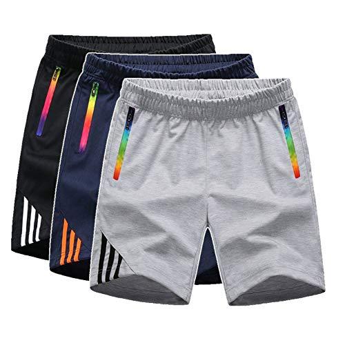 Manluodanni Homme Pantalon Court Décontracté Short et Bermuda Sport Jogging Casual Slim Fit Multi Poches 2Gris XL