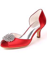 e96d4cc5ad9 Eleoulck Femmes Chaussures de Mariage Satin Chaton Talons Strass Peep Toe  côté air Talons Hauts