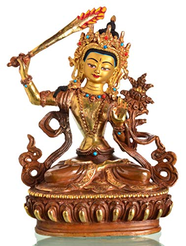 Manjushri-statue (BUDDHAFIGUREN Buddha-Statue Manjushri Gold-Kupfer aus Bronze Teil-feuervergoldet 17 cm)