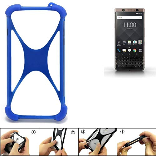 K-S-Trade Bumper BlackBerry KEYone Bronze Edition Silikon Schutz Hülle Handyhülle Silikoncase Softcase Cover Case Stoßschutz, blau (1x)