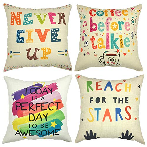 Gspirit 4 Pack Colorido Alfabeto Ingles Algodón Lino Throw Pillow Case Funda de Almohada para Cojín...