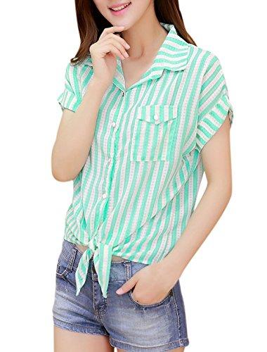 Manches courtes femme devant Chemise décontractée à rayures Vert