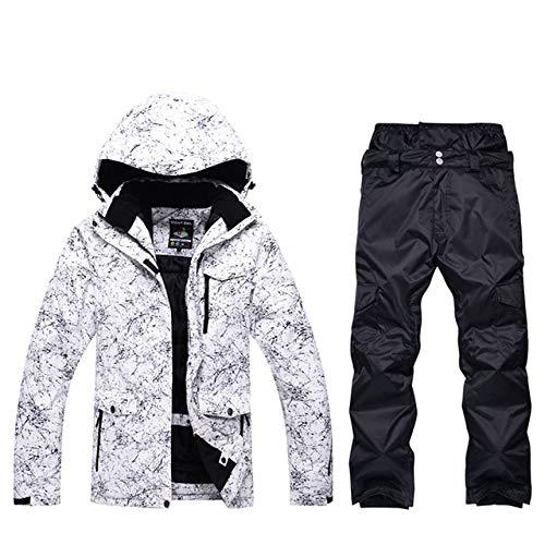 BKILF Skianzug,Hochwertige Herren Skianzug Winterbekleidung wasserdicht Ski Snowboard Jacke Winddicht Outdoor SportCamouflage Hose Super hot, Ivory, L