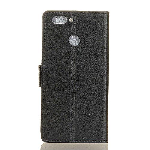 Solid Color Litchi Hautmuster Faux Ledertasche, Retro Folio Stand Case mit weichen Back Cover Geldbörse Tasche mit Card Slots für Huawei Nova 2 ( Color : Purple ) Black