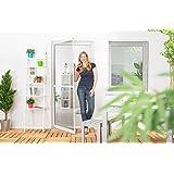 Insektenschutz Tür Master Slim + 100 x 210 cm mit Alurahmen in Weiß, Anthrazit oder Braun und stabilen Eckverbindungen, Fliegengitter in den Varianten Bausatz, auf Maß zugeschnitten und komplett aufgebaut