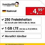DeutschlandSIM LTE 750 National - monatlich kündbar (1 GB LTE mit max. 21,6 MBit/s inkl. deaktivierbarer Datenautomatik, 250 Freieinheiten für Anrufe oder SMS, 4,99 Euro/Monat)