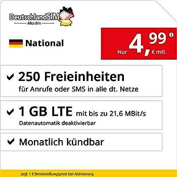 DeutschlandSIM LTE 750 National monatlich kündbar (1 GB LTE mit max. 21,6 MBits inkl. deaktivierbarer Datenautomatik, 250 Freieinheiten für Anrufe
