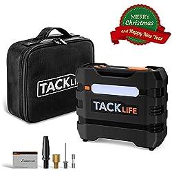 TACKLIFE ACP1B Compresseur Voiture, 12V 40L/Min Gonfleur Electrique avec Protezione da surriscaldamento, Display LCD, Luce a LED, fusibile aggiuntivo, 4 adattatori