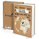 """Gästebuch """"Weltkugel"""" Kraftpapier schwarz weiß (Hardcover A4, Blankobuch): Das ideale Gästebuch für Hotelgäste, Pensionsgäste, Gäste der Ferienwohnung, Ferienhaus"""