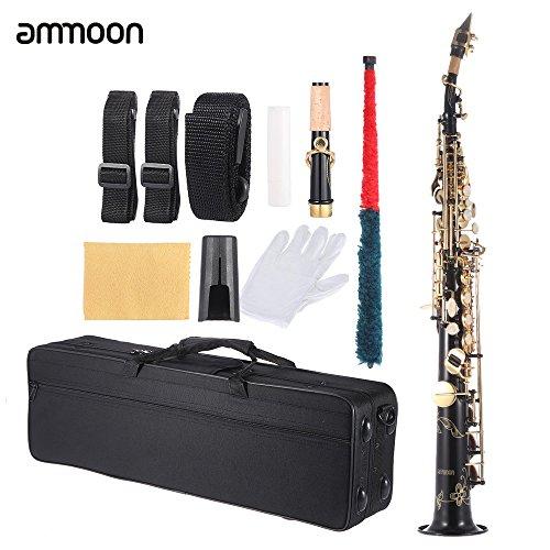 ammoon Messing Gerade Sopran Saxophon Bb B Flat Holzblasinstrument Natürliche Shell Key Carve-Muster mit Tragetasche Handschuhe Reinigungstuch Straps Fettreiniger Rod