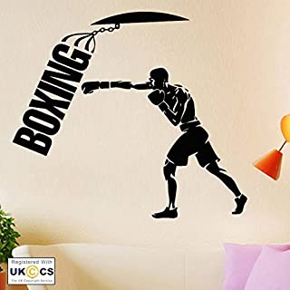 Boxer Boxing Gym Sport Fighter Fitness Wall Art Stickers Decals Vinyl Home Room Bedroom Boys Girls Kids Adults Home Livingroom Quotes Kitchen Bathroom Accessories Mural