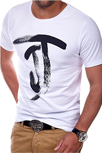 Jack & Jones Herren T-Shirt Kurzarmshirt Top Print Shirt Casual Basic O-Neck (L, White)