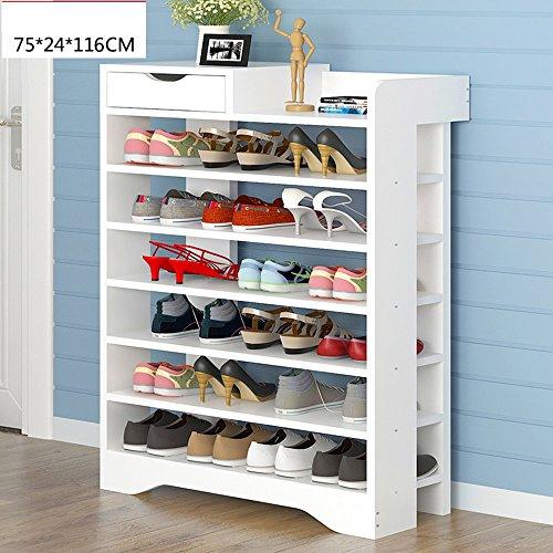 Weiß 7 Schublade (Lagerregal ZHIRONG Schuhregale 7 Tiers Multifunktions Economy Standregal mit Schublade (Farbe : Weiß, Größe : 75*24*116cm))