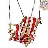 Gartenpirat Babyschaukel aus Holz und Stoff rot / weiß Babysitz Schaukelsitz von ®