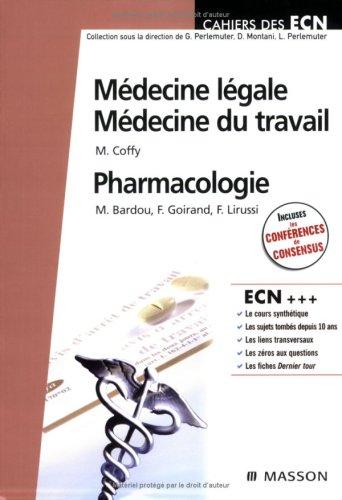 Médecine légale, médecine du travail, pharmacologie