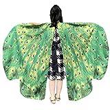 WOZOW Kinder Schmetterling Flügel Kostüm Nymphe Pixie Umhang Faschingkostüme Schals Poncho Kostümzubehör Zubehör (Grün)