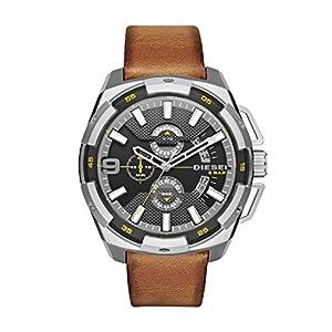 Diesel Heavyweight - Reloj análogico de cuarzo con correa de cuero para hombre, color negro/marrón de Diesel