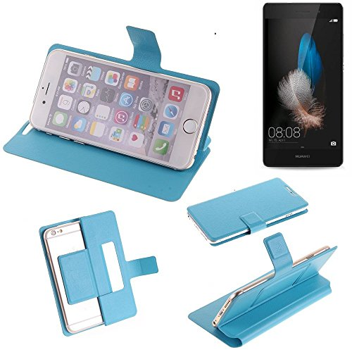 K-S-Trade Für Huawei P8 Lite Dual-SIM Flipcover Schutz Hülle Schutzhülle Flip Cover Handy Wallet Case Slim Handyhülle für Huawei P8 Lite Dual-SIM blau hellblau bookstyle