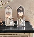 """Frank Flechtwaren tea light candle holders """"Bird House"""" Set of 2"""