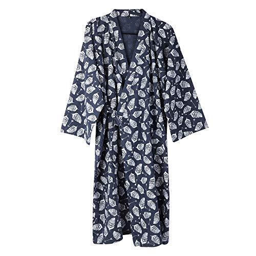 Kimono Morgenmantel Herren Männer Yukata V-Ausschnitt Langarm Schlafmantel Hautfreundlich Bademantel Japanischer Saunamantel Bequem Nachtwäsche Baumwolle Sleepwear für für Bad Schlafen