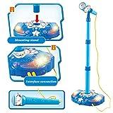LVPY Mikrofonständer, Karaoke Standmikrofon aus Kunststoff Abnehmbares mit Licht Mikrofon Musik Spielzeug Geschenk für Kinder(Blau)