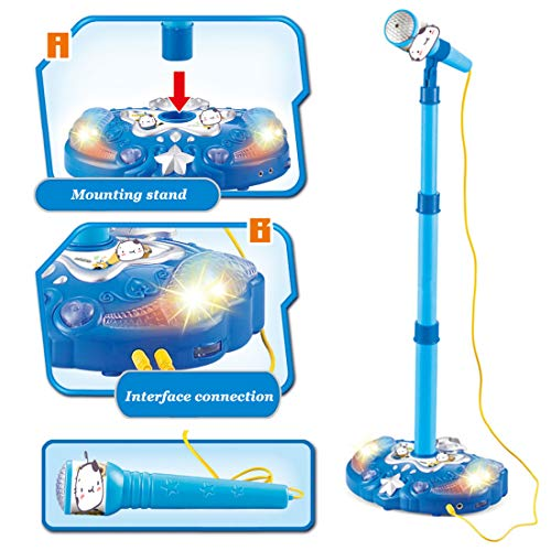 YAKOK Mikrofon Kinder, Einstellbar Karaoke Kinder Mikrofon Spielzeug mit Ständer und Licht Effekt Standmikrofon für Kinder Kleinkinder Mädchen 3-6 Jahre