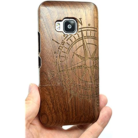 Cassa di Legno di HTC One M9, PhantomSky[Serie di Lusso] Qualit à Premium Cover in Bambù / Legno Naturale per il tuoSmartphone - Bussola Legno Noce(Walnut Compass)
