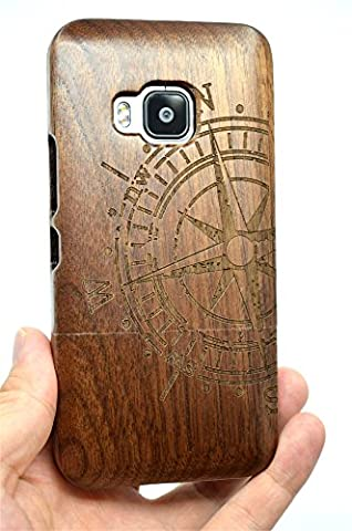 HTC One M9 Holzhülle, PhantomSky[Luxus-Serie] NatürlicheHandgemachteBambus / Holz Schutzhülle für Ihr Smartphone - Walnussholz Kompass(Walnut Compass)