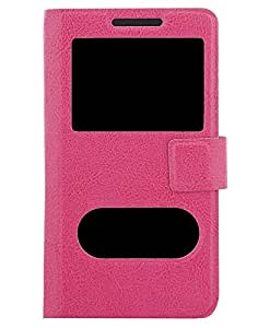 Shopme Premium PU Leather Flip cover for Celkon Evoke A43(PINK COLOR ) (Slider for Taking Snaps, Caller ID Window,100% Camera Protection)