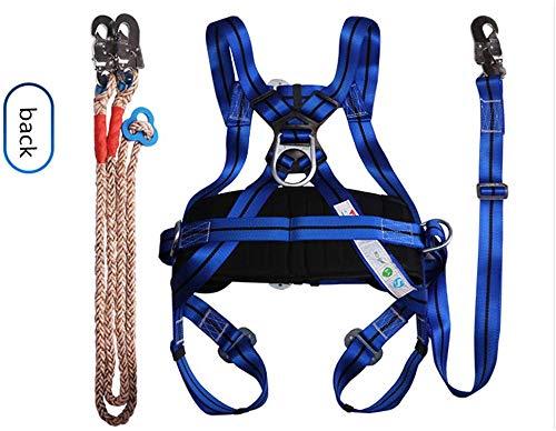 Lloow Arnés de protección, arnés de Seguridad de Cuerpo Completo de Seguridad Dachdeckerset Gancho Ajustable Equipo de protección (Cable de Longitud 250 cm) para la Escalada, el Trabajo en Alturas