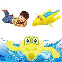 Hergon 1Pcs Crocodile Floating Bath Toy, Baby Squirt Toys,Little Animals Bath Squirters, KidsBathtub Swimming Pool Rubber Float
