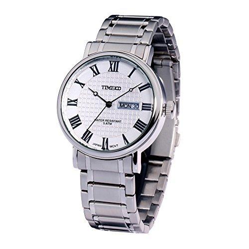 Time100 Klassische Busineß-Herren-Armbanduhr mit romanischen Nummern-Skalas W80008G.02A