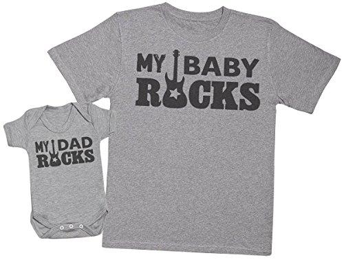 My Dad Rocks, My Baby Rocks - regalo para padres y bebés en un cuerpo para bebés y una camiseta de hombre a juego - Gris - X-Large & 3-6 meses