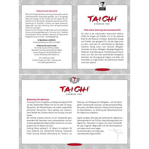 BADERs Tai Chi Energie Tee. Bio-Grüntee für mehr Energie und Vitalität. Mit der Kraft der Ginsengwurzel. 2 x 20 Filterbeutel. PZN 03250803