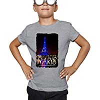 Billion Group | Paris By Night Eiffel Tower In Blue | City Collection | Boys Classic Crew Neck T-Shirt