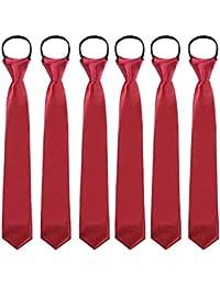 Jungen Reißverschluss Vorgebunden Solide Krawatten - 6Stück Solide Einstellbar Krawatten Formal Vorgebunden Hals Krawatten zum Jungen Hochzeit
