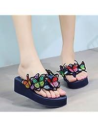 FLYRCX Süße Blumen mit flachem Boden Hausschuhe Damen Sommer mode Outdoor Clip Füßen flip flops Badeschuhe,36 EU, d