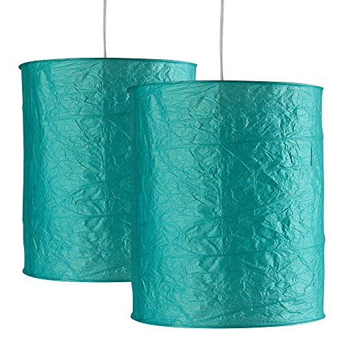 pair-of-stunning-ambient-modern-round-cylinder-shaped-chinese-textured-teal-paper-lantern-ceiling-pe