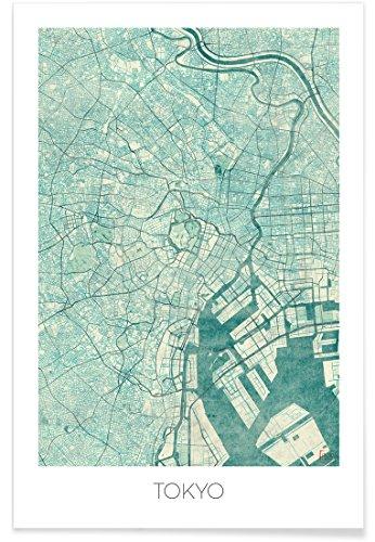 """JUNIQE® Poster 20x30cm Stadtpläne Tokio - Design """"Tokyo Vintage"""" (Format: Hoch) - Bilder, Kunstdrucke & Prints von unabhängigen Künstlern entworfen von Hubert Roguski"""