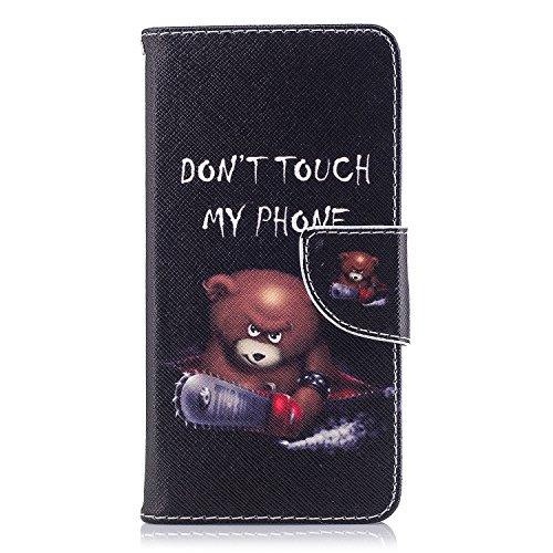 Huawei P9 Lite Mini / Y6 Pro 2017 Hülle, Chreey Bunt Gemalt Magnetverschluss Flip Wallet Handyhülle PU Lederhülle Bookstyle Brieftasche Kreditkarte Etui Schutzhülle [Bär - Don't touch my phone]