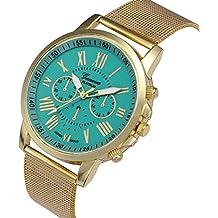 Relojes Pulsera Mujer, Xinan Moda Clásica de oro Cuarzo Ginebra Reloj de Pulsera de Acero inoxidable (Verde)