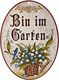 Kaltner Präsente Geschenkidee - Holz Türschild im Antik Design Motiv BIN IM GARTEN (Ø 18 cm)